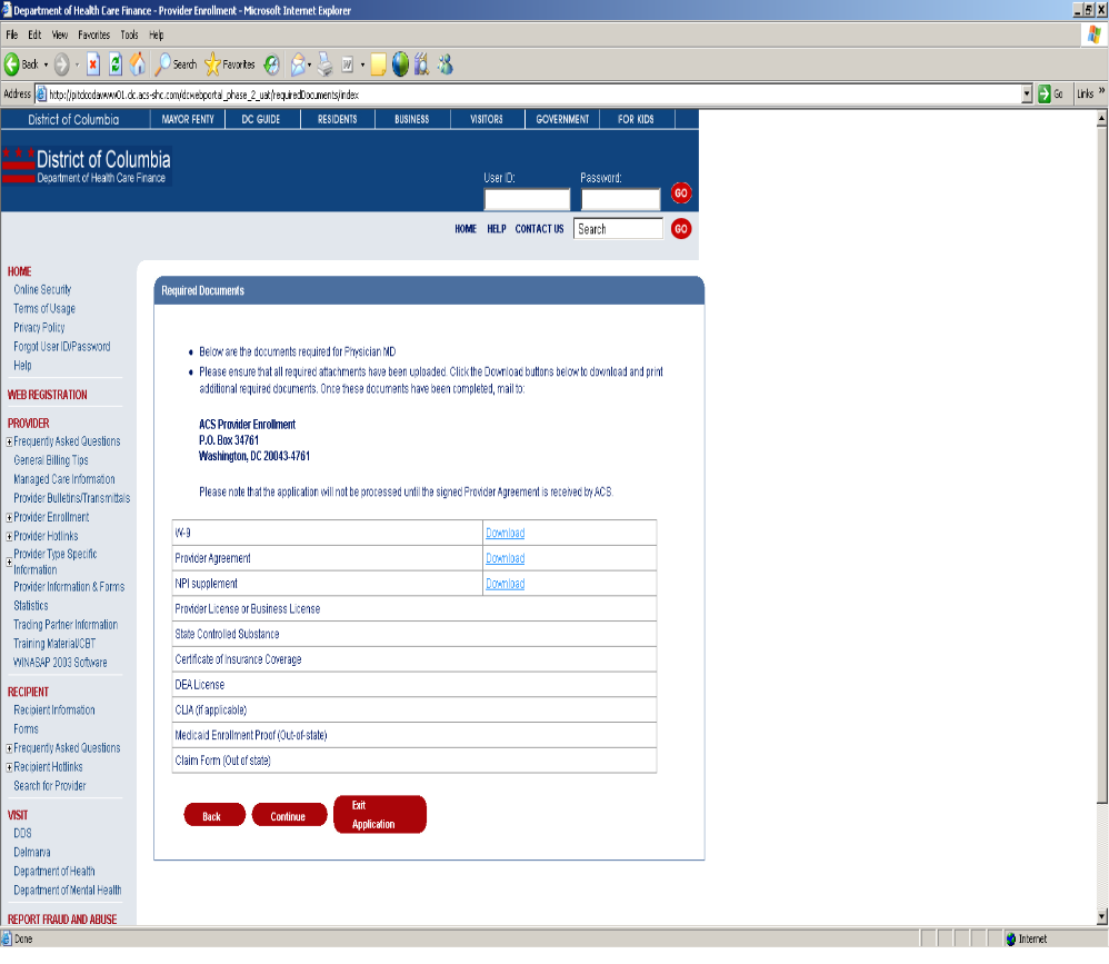 Provider enrollment application setup figure 107 required documents web page image 1betcityfo Images